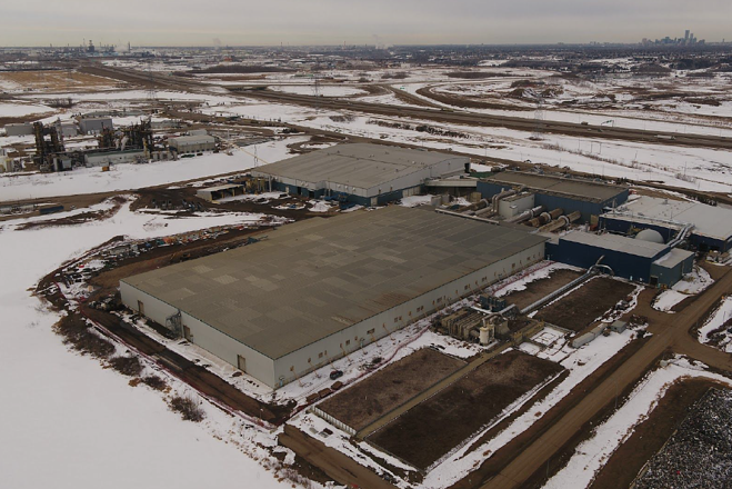 Aerial photo of the organics processing facility